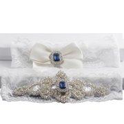 ebf0ddff937 Classic Vintage Ivory Lace Garter Set with Blue Stone and Rhinestones