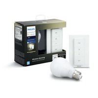 Philips Hue White Smart A19 Wireless Dimming Kit, 60W Equivalent, Hub Required, 1 Bulb
