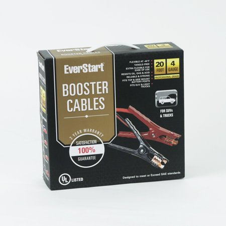 Everstart 20 ft. 4-Gauge Booster Cables Car Battery Jumper Cables