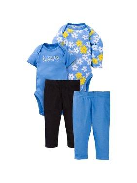 Newborn Baby Girl Mix N' Match Onesies Bodysuits & Slim Pants, 4pc Set