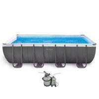 "Intex 18' x 9' x 52"" Ultra Frame Rectangular Above Ground Pool w/ Pump & Ladder"