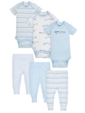 Mix N Match Bodysuits & Pants Outfit Set, 6-piece (Baby Boys)