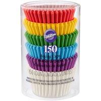 (3 Pack) Wilton Rainbow Mini Cupcake Liners, 150ct