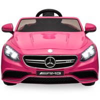 Best Choice Products 12V Kids Battery Powered Licensed Mercedes-Benz S63 Coupe RC Ride-On Car w/ Parent Control, LED Lights, MP3 Player, 3 Speeds - Pink