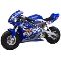 Razor 24 Volt Mini Electric Single Speed Racing Motorcycle Pocket Rocket, Blue