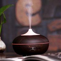 Qedertek 300ml Essential Oils Aroma Ultrasonic Diffuser,Ultrasonic Humidifier - Home Office Scent Air Freshener -7 Colors Changing LED Light(Black wood)