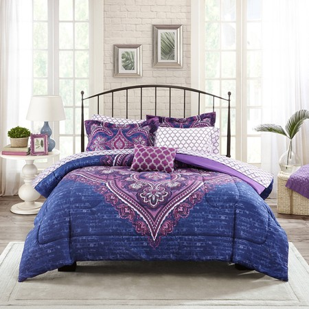 Collection Bed Complete Set (Mainstays Grace Medallion Purple Bed in a Bag Complete Bedding )