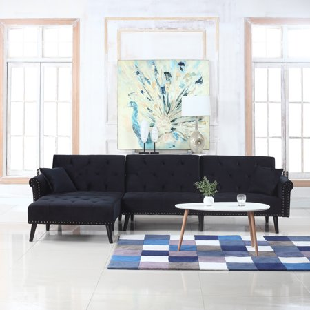 Modern Style Velvet Sleeper Futon Sofa Living Room L Shape Sectional Couch With Reclining Backrest And Chaise Lounge Black