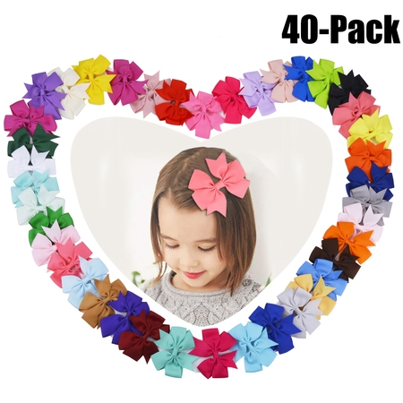 40Pcs Ribbon Hair Bows Clips Hairpin Hair Accessories for Baby Girls Kids Teens Toddlers Children - Led Hair Clips