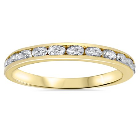 1ct Diamond Wedding Channel Set Ring 14K Yellow Gold Ring - Bar Channel Diamond Band