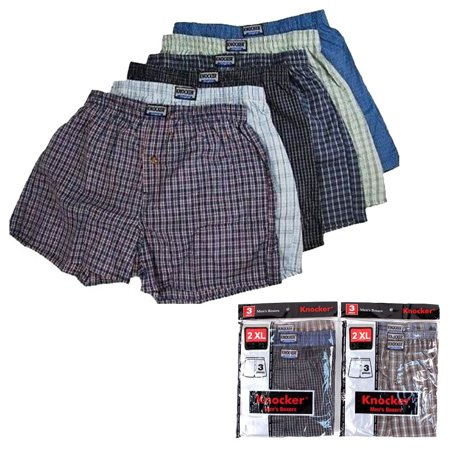 Blue Striped Boxer - 6 Men Knocker Boxer Brief Underwear Male Elastic Waistband Brief Shorts Size