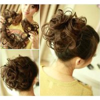 FLORATA Hair Bun Extensions Wavy Curly Messy Hair Extensions Donut Hair Chignons Hair Piece Wig Hairpiece