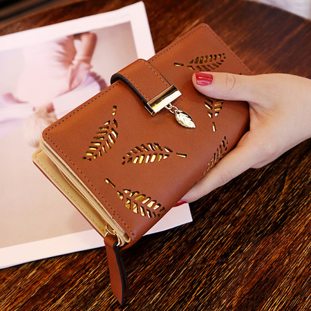 Women Hollow Out Leaf Long Clutch Purse Card Holder Bifold Leather Wallet