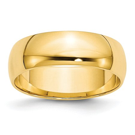 Solid 14k Yellow Gold 6mm Half Round Wedding Band Size (Gold Half Round Band)