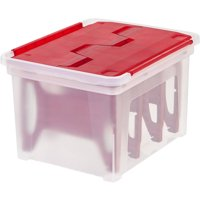 IRIS Wing Lid Holiday Light Storage Box with 4 Light Wraps, Red