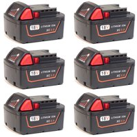 Replacement for Milwaukee M18 5.0Ah Battery - 48-11-1850 (6 Pack)