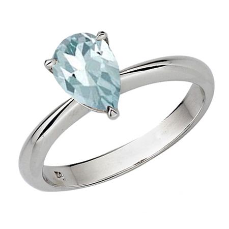 Genuine Round Aquamarine Solitaire Ring (1.00 Carat (ctw) Sterling Silver Pear Cut Aquamarine Ladies Solitaire Bridal Engagement Ring 1 CT )