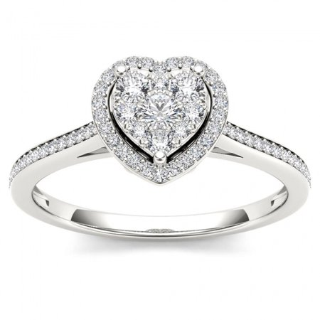 1/4ct TW Diamond 10K White Gold Heart Shaped Cluster Halo Engagement