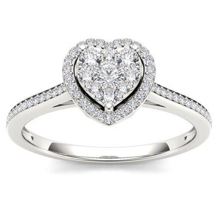 Keepsake Heart Shaped Diamond Solitaire (1/4ct TW Diamond 10K White Gold Heart Shaped Cluster Halo Engagement ring )