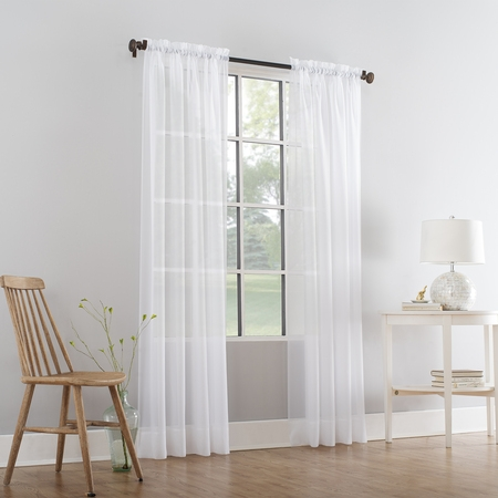 Mainstays Marjorie Sheer Voile Curtain Panel - Ivory Lined Curtains