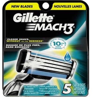 5-Pack Gillette Mach3 Mens Razor Blade Refills