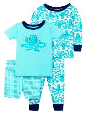 100% Organic Cotton Tight Fit Pajamas, 4pc Set (Baby Boys & Toddler Boys)