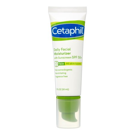 Clarifying Gel Facial Moisturizer - Cetaphil Daily Facial Moisturizer Broad Spectrum SPF50, Fragrance Free, 1.7 Fl Oz