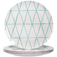 Better Homes and Gardens Mint Triangle Lines Melamine Dinner Plate, Set of 4