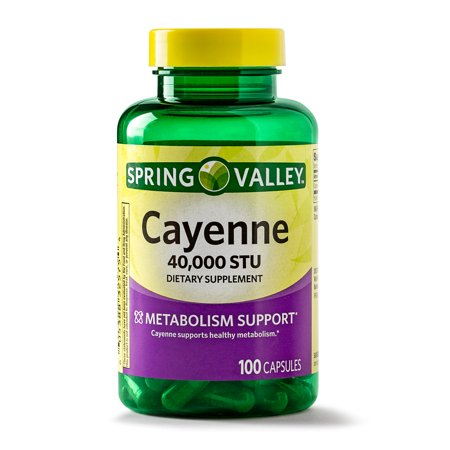 (2 Pack) Spring Valley Cayenne Capsules, 40000 STU, 100 Ct