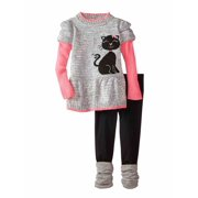 79f9ce90d8d Little Lass Infant Girls Kitty Cat Outfit Gray Sparkle Sweater Leggings Set