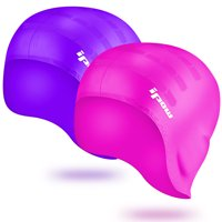IPOW Swimming Caps, 2-Pack Silicone Swim Cap Hat Waterproof Swimming Cap with Ear Pockets for Adults Men Women Kids Girls Boys Children Youth Long Hair Ladies, Purple & Rose Red