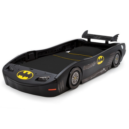 Delta Children DC Comics Batman Batmobile Car Plastic Twin Bed, Black