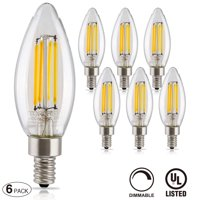6 Pack Dimmable LED Filament Candelabra Bulb, 4.5W (60W Equiv.), UL-listed Vintage Style E12 Lamp Bulb, 2700K Soft White, 360° Beam Angle