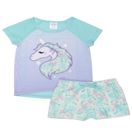 Graphic Short Sleeve Tee and Short, 2-Piece Pajama Set (Little Girls & Big (Sleepy Star)