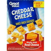 (2 Pack) Great Value Cheddar Cheese Baked Snack Crackers, 21 oz