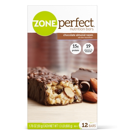 Protein Snack Bar - ZonePerfect Nutrition Snack Bar, Chocolate Almond Raisin, 15g Protein, 12 Ct