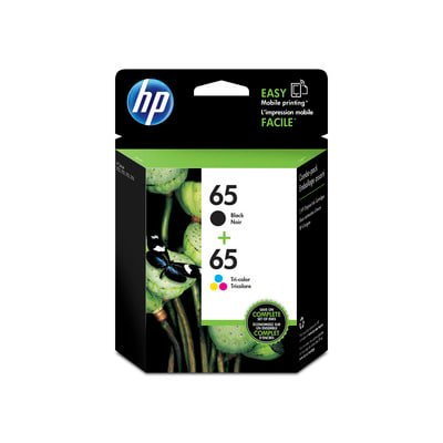 HP 65 Black & Tri-Color Original Ink Cartridges, 2-pack (Long Lasting Black Ink)