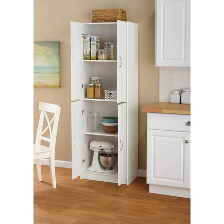 Mainstays 4-Shelf Multipurpose Storage Cabinet, White Ash Dining Room Cabinet
