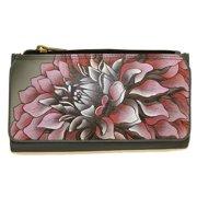 anuschka leather organizer clutch wallet hand painted (dreamy dahlias-pink)