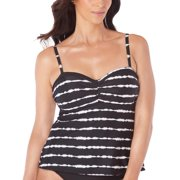 de03863f66f08 Swim Solutions Womens Printed Sweetheart-Neck Tankini Top 14 Black / White