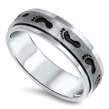 Spinner Footprint Baby Classic Ring 316L Stainless Steel Brushed Band Size 8