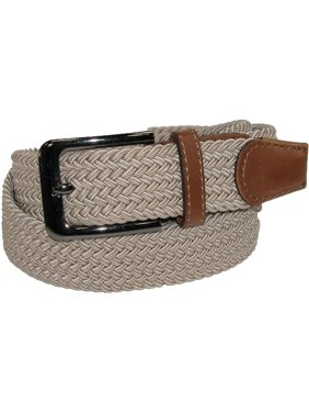 Men's Elastic Braided Stretch Belt with Silver Buckle and Tan Tabs