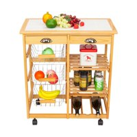 Zimtown Portable Kitchen Cart Kitchen Storage Cart Kitchen Island Cart Table Rolling Trolley Stand Counter Top Table,White/Wood Color