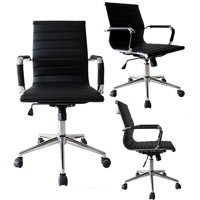 2xhome Mid Century Office Chair With Arms Wheels Modern Black Desk Chair Ergonomic Mid back PU Leather Arm Rest Tilt Adjustable Height Swivel Task
