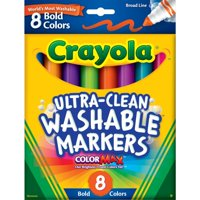 Crayola Washable Markers, Broad Line, Bold Colors, School Supplies, 8 Count