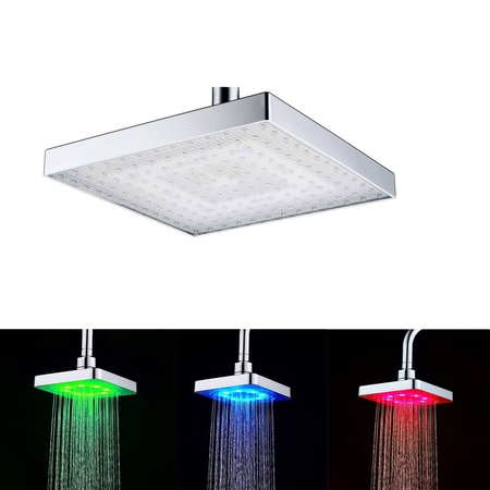 - 7-Color LED Shower Head Auto Changing Rain Shower Square Head Light Home Water Bathroom Battery free device