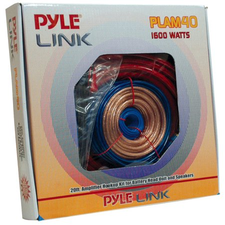 PYLE PLAM40 - Car Audio Cable Wiring Kit - 20ft 8 Gauge Powered 1200 Watt Complete Amplifier Hookup for Battery, Head Unit & Stereo Speaker Installation Sound System Car Stereo Installation Accessories