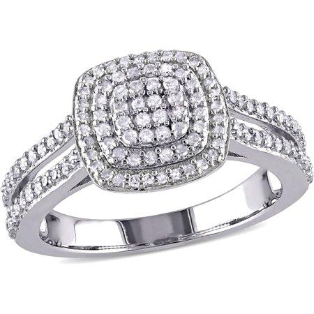 Diamond Split Shank Ring - Miabella 1/2 Carat T.W. Diamond Sterling Silver Double Halo Split Shank Ring