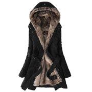 7a114f7b16b0c Women s Winter Warm Hooded Parkas Faux Fur Lined Coat Outerwear Jacket