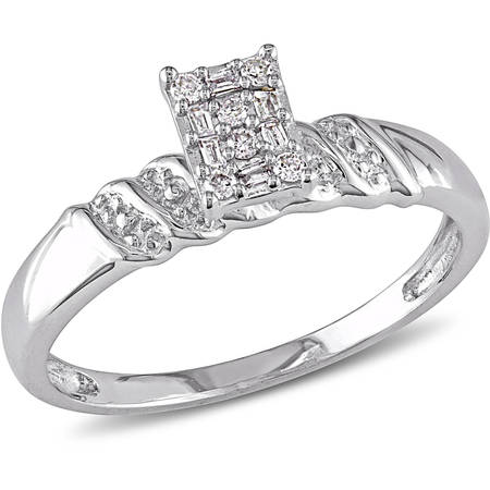 - 1/10 Carat T.W. Round and Parallel Baguette Diamond Sterling Silver Cluster Engagement Ring